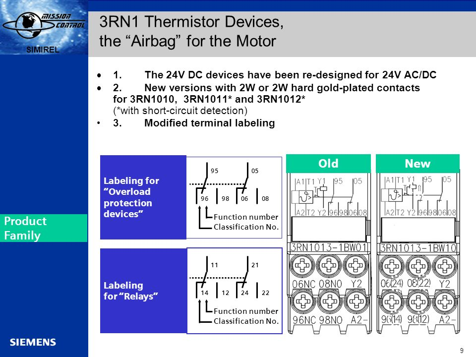 Automation and Drives s SIRIUS 9 SIMIREL s 1.The 24V DC devices have been re-designed for 24V AC/DC 2.New versions with 2W or 2W hard gold-plated cont