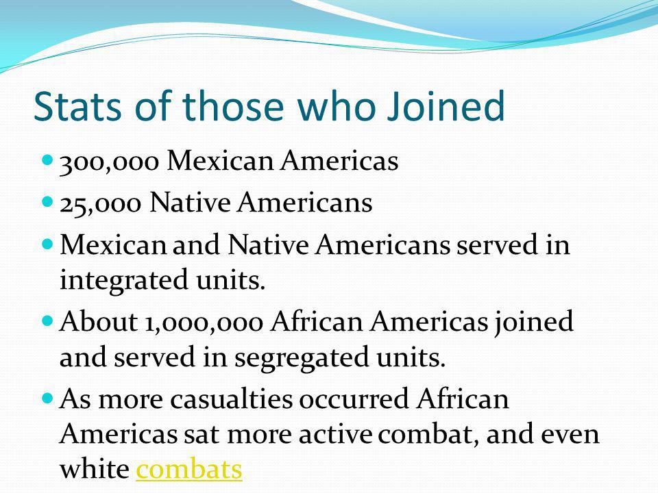 Stats of those who Joined 300,000 Mexican Americas 25,000 Native Americans Mexican and Native Americans served in integrated units.
