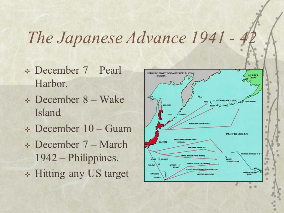 The Japanese Advance 1941 - 42 December 7 – Pearl Harbor. December 8 – Wake Island December 10 – Guam December 7 – March 1942 – Philippines. Hitting a