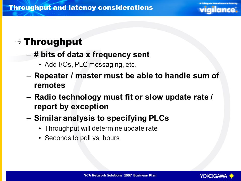 YCA Network Solutions 2007 Business Plan Throughput and latency considerations Throughput –# bits of data x frequency sent Add I/Os, PLC messaging, et