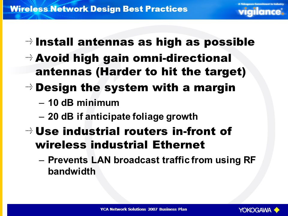 YCA Network Solutions 2007 Business Plan Wireless Network Design Best Practices Install antennas as high as possible Avoid high gain omni-directional