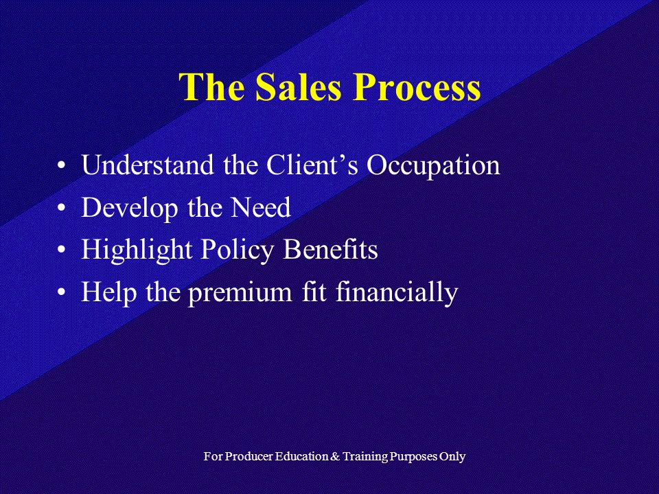 For Producer Education & Training Purposes Only The Sales Process Understand the Clients Occupation Develop the Need Highlight Policy Benefits Help the premium fit financially