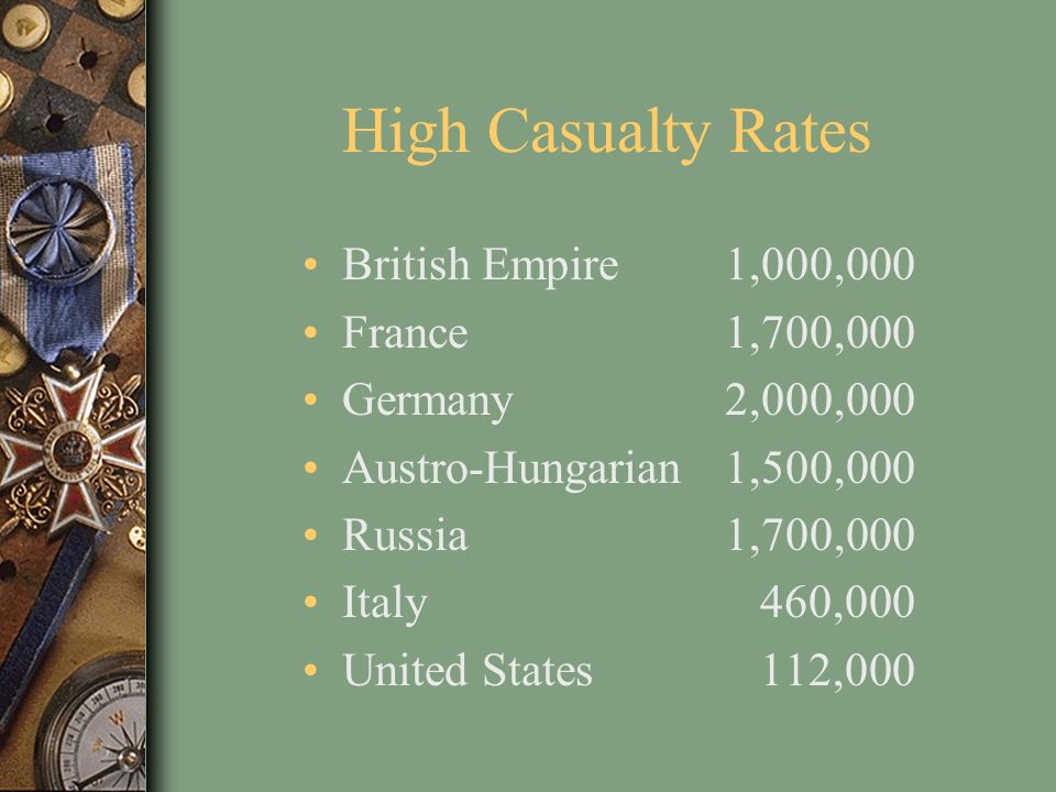 High Casualty Rates British Empire1,000,000 France1,700,000 Germany2,000,000 Austro-Hungarian1,500,000 Russia1,700,000 Italy 460,000 United States 112
