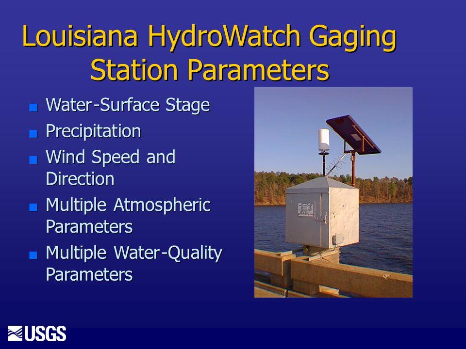 Louisiana HydroWatch Gaging Station Parameters n n Water - - Surface Stage n n Precipitation n n Wind Speed and Direction n n Multiple Atmospheric Parameters n n Multiple Water - - Quality Parameters