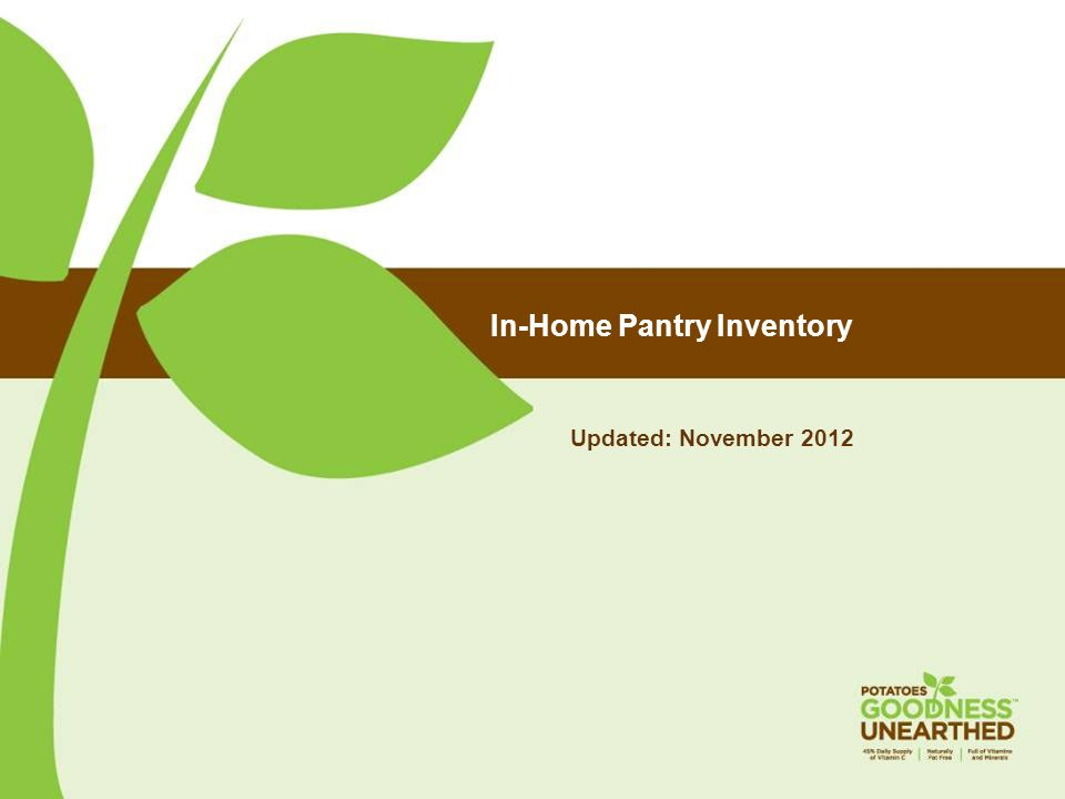In-Home Pantry Inventory Updated: November 2012