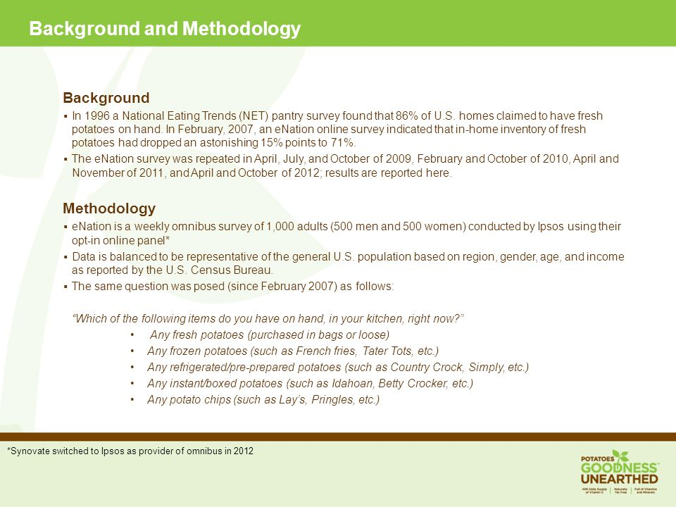Background and Methodology Background In 1996 a National Eating Trends (NET) pantry survey found that 86% of U.S.