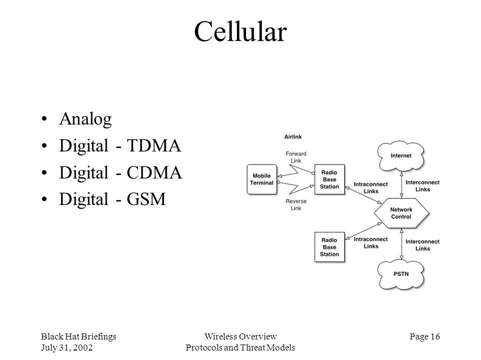 Black Hat Briefings July 31, 2002 Wireless Overview Protocols and Threat Models Page 16 Cellular Analog Digital - TDMA Digital - CDMA Digital - GSM