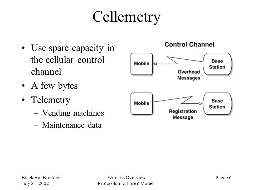 Black Hat Briefings July 31, 2002 Wireless Overview Protocols and Threat Models Page 36 Cellemetry Use spare capacity in the cellular control channel