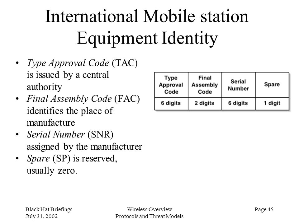 Black Hat Briefings July 31, 2002 Wireless Overview Protocols and Threat Models Page 45 International Mobile station Equipment Identity Type Approval