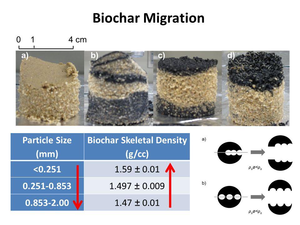 Biochar Migration Particle Size (mm) Biochar Skeletal Density (g/cc) <0.2511.59 ± 0.01 0.251-0.8531.497 ± 0.009 0.853-2.001.47 ± 0.01