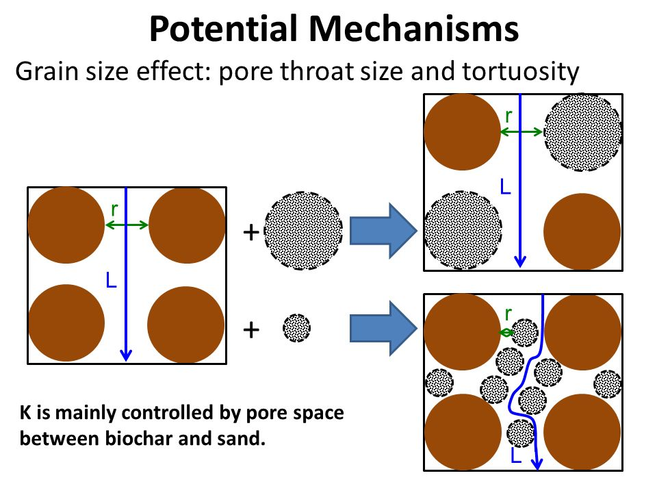Potential Mechanisms Grain size effect: pore throat size and tortuosity K is mainly controlled by pore space between biochar and sand. + + r L r L r L