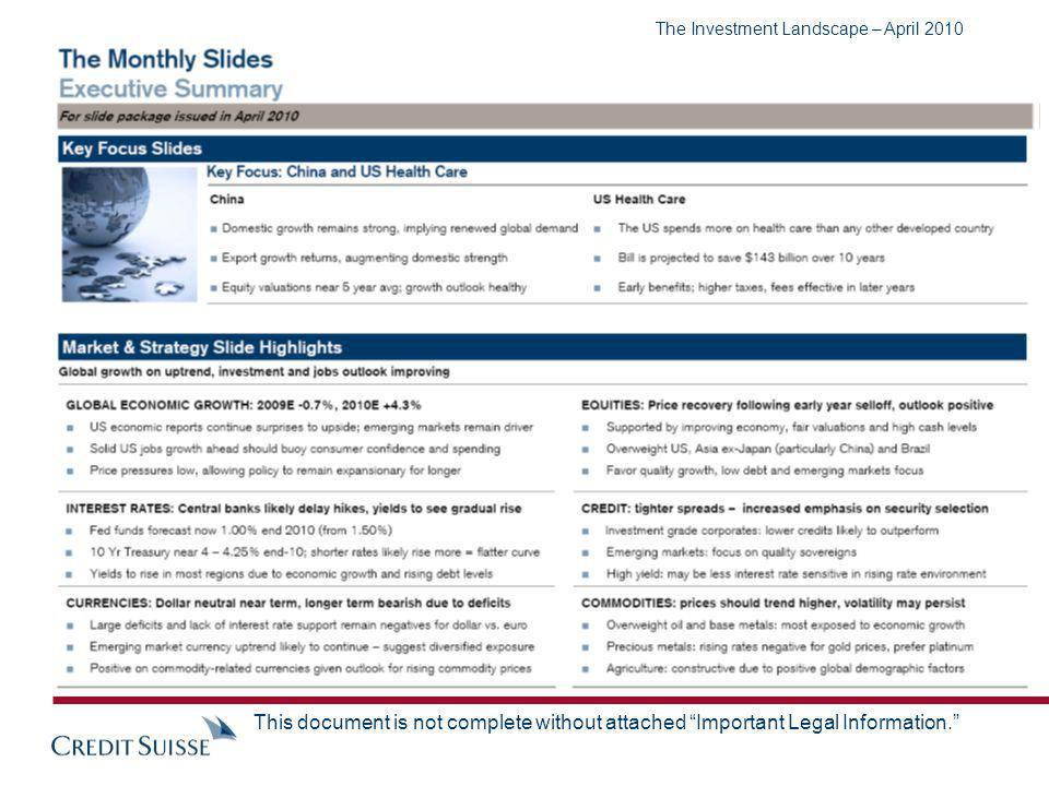 The Investment Landscape – April 2010 This document is not complete without attached Important Legal Information.