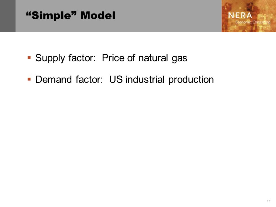 11 Simple Model Supply factor: Price of natural gas Demand factor: US industrial production
