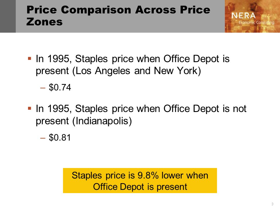 4 Price Comparison Before and After Office Depot Entry In Los Angeles in 1995, Staples price when Office Depot was present –$0.74 In Los Angeles in 1994, Staples price when Office Depot was not present –$0.75 Staples price is 2.6% lower after Office Depot entered