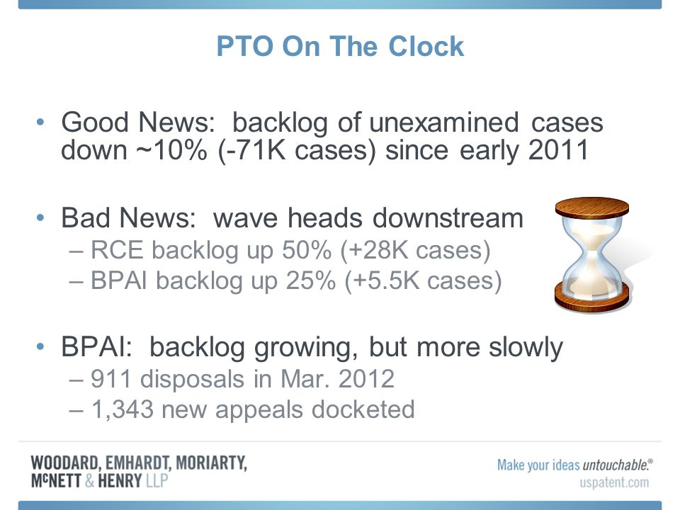 PTO On The Clock Good News: backlog of unexamined cases down ~10% (-71K cases) since early 2011 Bad News: wave heads downstream –RCE backlog up 50% (+28K cases) –BPAI backlog up 25% (+5.5K cases) BPAI: backlog growing, but more slowly –911 disposals in Mar.