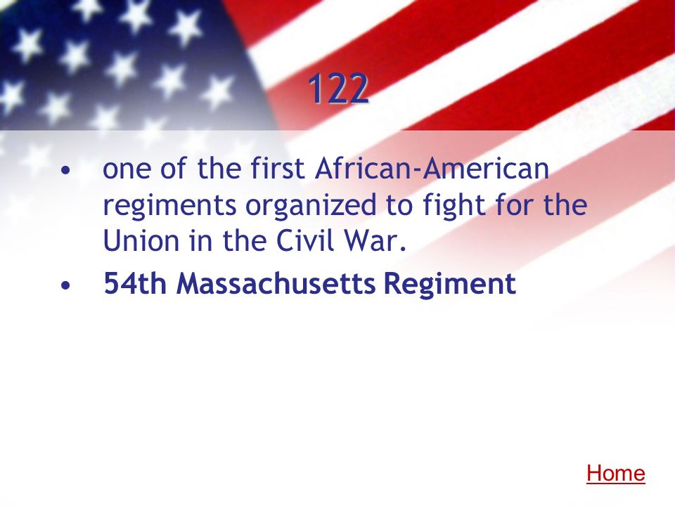 122 one of the first African-American regiments organized to fight for the Union in the Civil War. 54th Massachusetts Regiment Home