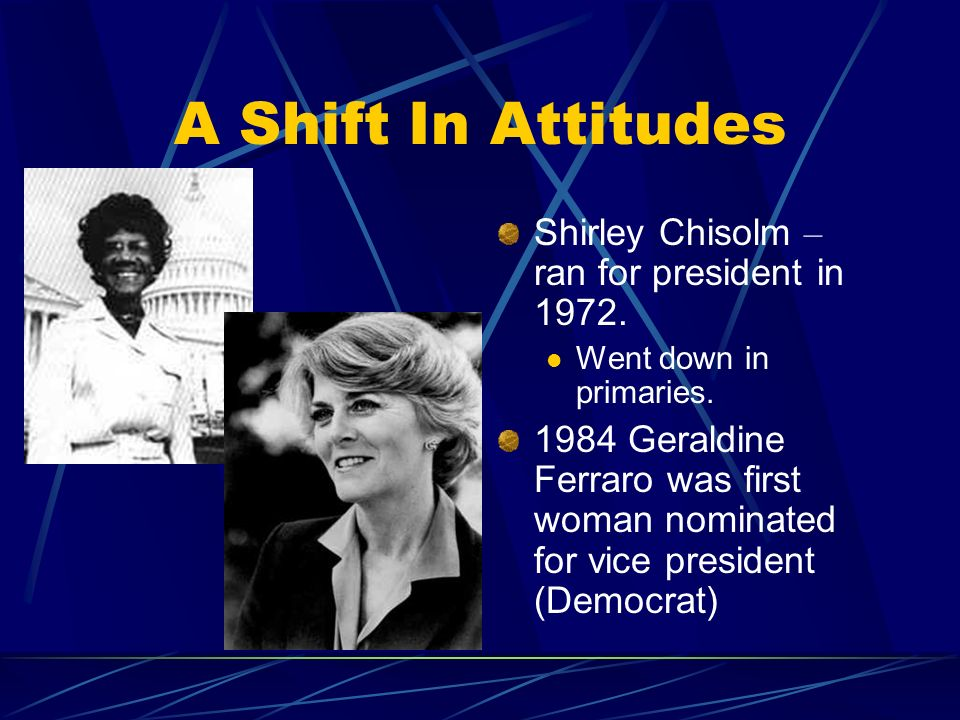 A Shift In Attitudes Shirley Chisolm – ran for president in 1972.
