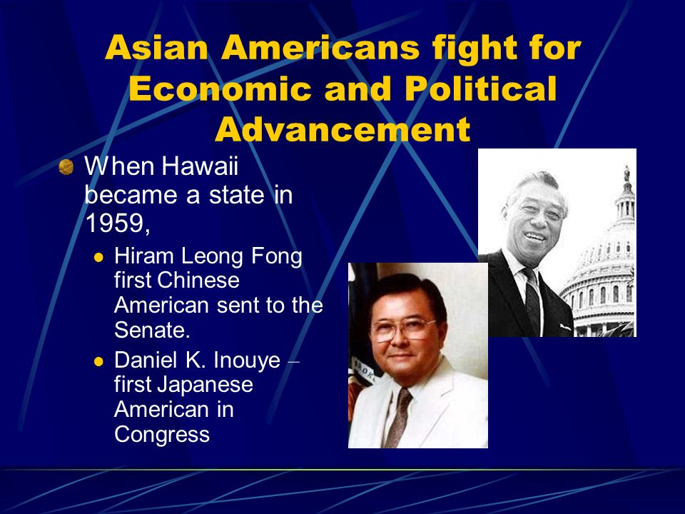 Asian Americans fight for Economic and Political Advancement When Hawaii became a state in 1959, Hiram Leong Fong first Chinese American sent to the Senate.