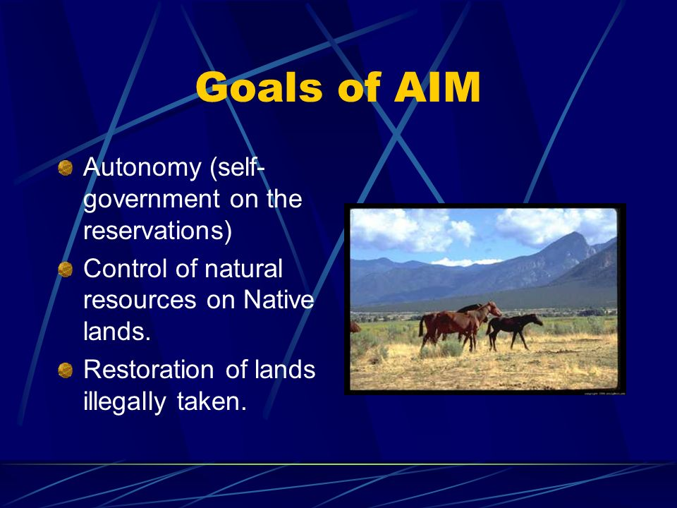 Goals of AIM Autonomy (self- government on the reservations) Control of natural resources on Native lands.