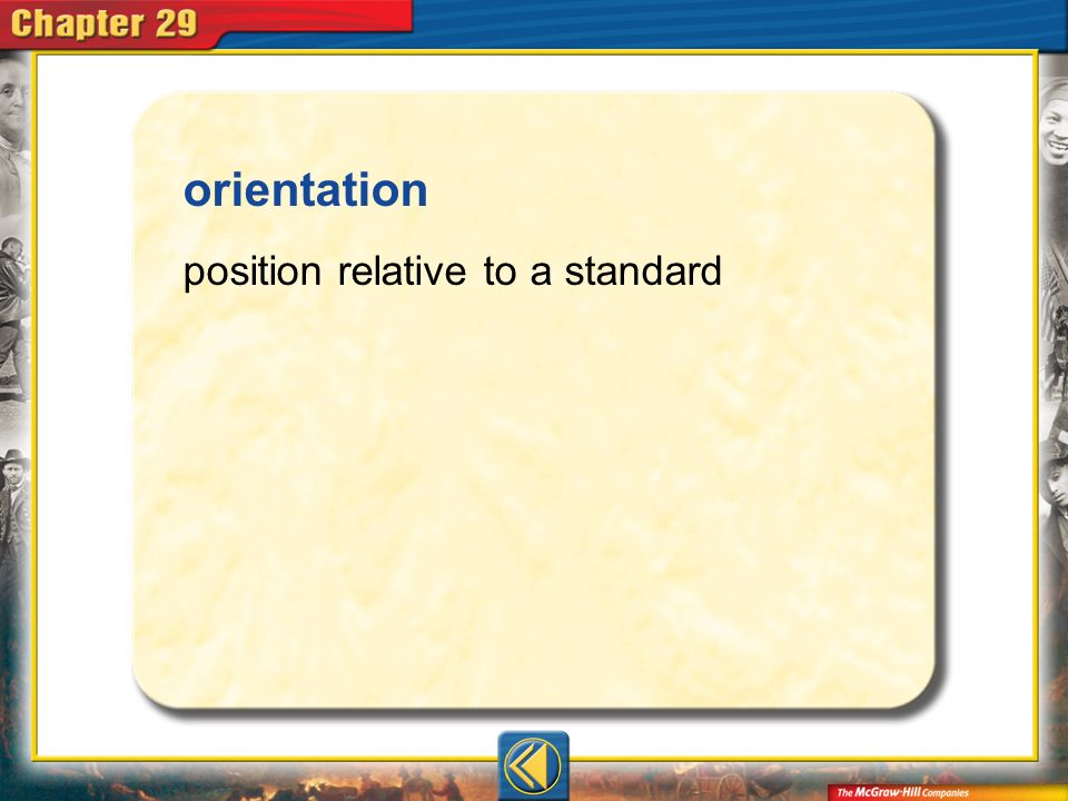 Vocab14 orientation position relative to a standard