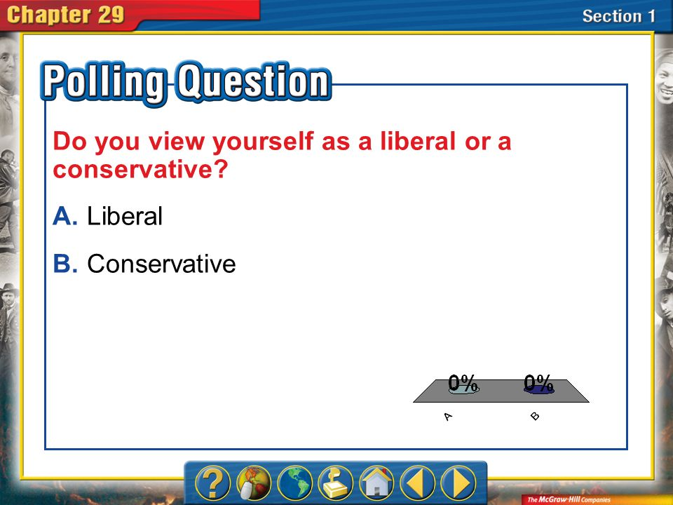 A.A B.B Section 1-Polling Question Do you view yourself as a liberal or a conservative? A.Liberal B.Conservative