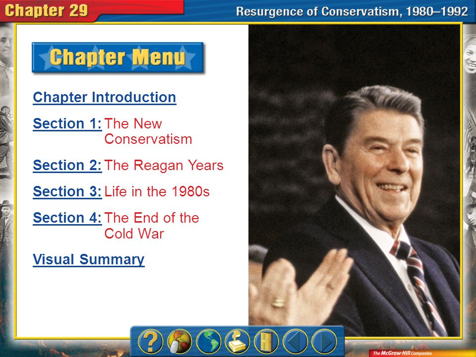 Chapter Menu Chapter Introduction Section 1:Section 1:The New Conservatism Section 2:Section 2:The Reagan Years Section 3:Section 3:Life in the 1980s