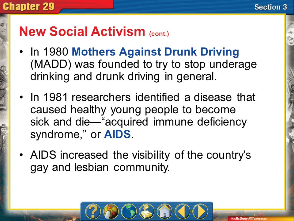 Section 3 In 1980 Mothers Against Drunk Driving (MADD) was founded to try to stop underage drinking and drunk driving in general. In 1981 researchers