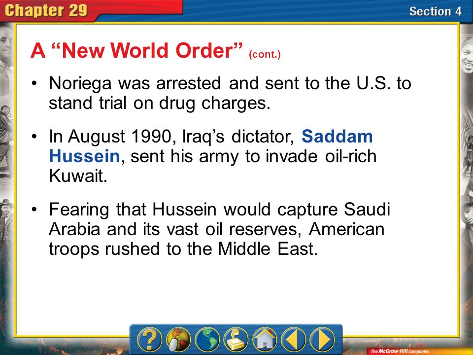 Section 4 Noriega was arrested and sent to the U.S. to stand trial on drug charges. In August 1990, Iraqs dictator, Saddam Hussein, sent his army to i