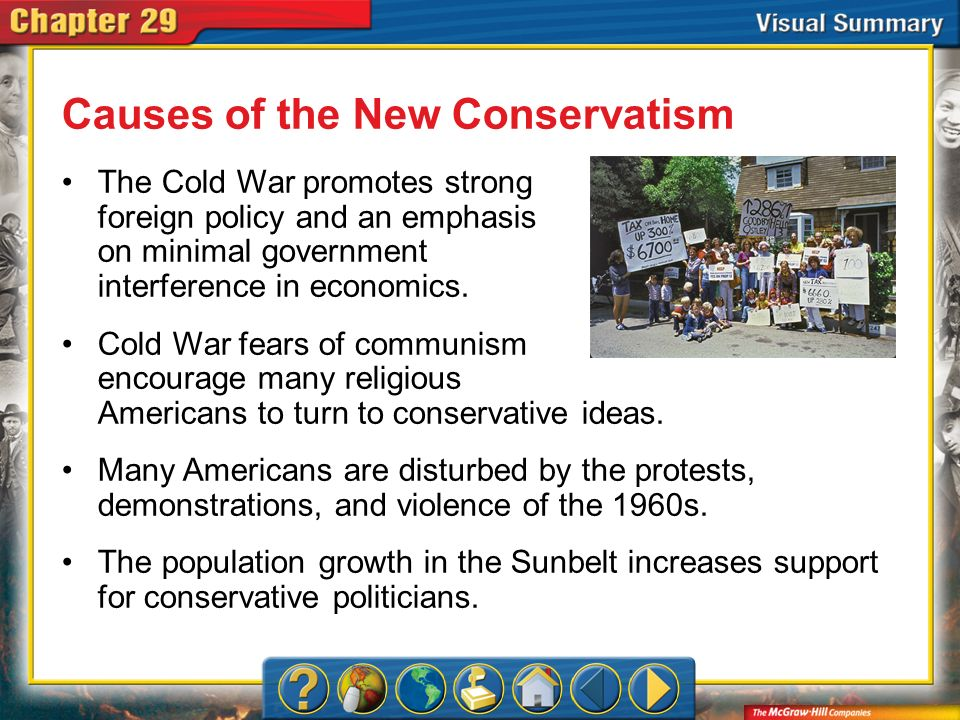 VS 1 Causes of the New Conservatism The Cold War promotes strong foreign policy and an emphasis on minimal government interference in economics. Cold