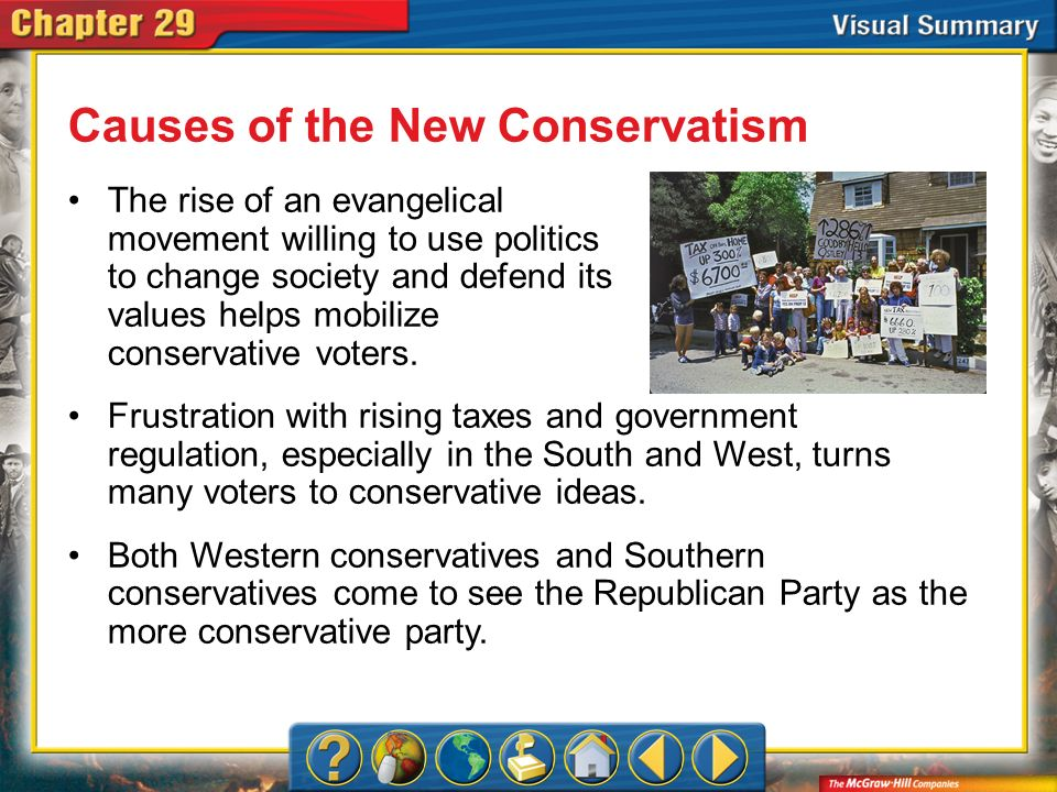 VS 2 Causes of the New Conservatism The rise of an evangelical movement willing to use politics to change society and defend its values helps mobilize