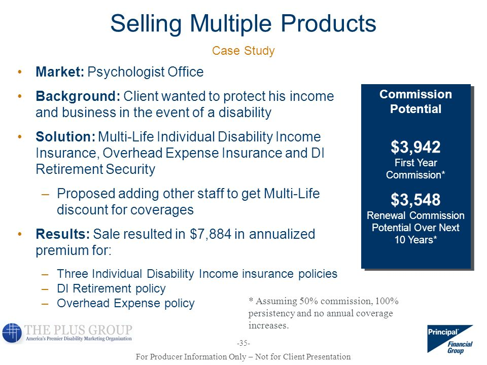 For Producer Information Only – Not for Client Presentation -35- Selling Multiple Products Market: Psychologist Office Background: Client wanted to pr