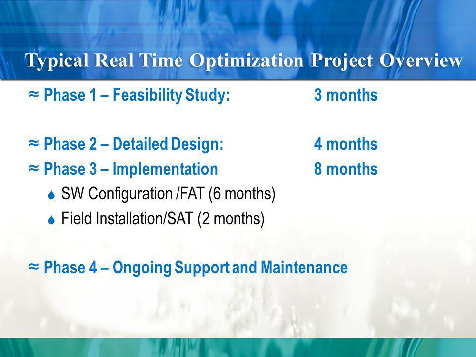 Typical Real Time Optimization Project Overview Phase 1 – Feasibility Study:3 months Phase 2 – Detailed Design:4 months Phase 3 – Implementation8 months SW Configuration /FAT (6 months) Field Installation/SAT (2 months) Phase 4 – Ongoing Support and Maintenance