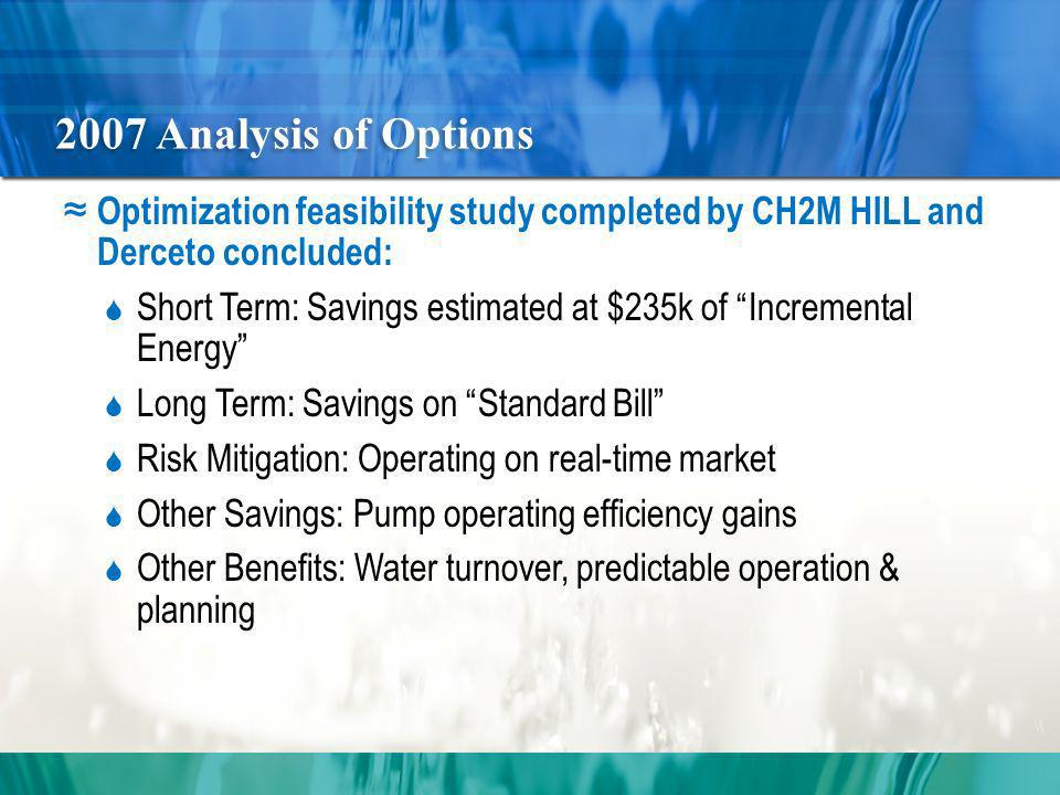 2007 Analysis of Options Optimization feasibility study completed by CH2M HILL and Derceto concluded: Short Term: Savings estimated at $235k of Incremental Energy Long Term: Savings on Standard Bill Risk Mitigation: Operating on real-time market Other Savings: Pump operating efficiency gains Other Benefits: Water turnover, predictable operation & planning