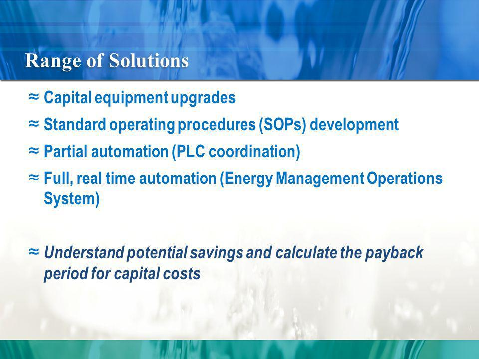 Range of Solutions Capital equipment upgrades Standard operating procedures (SOPs) development Partial automation (PLC coordination) Full, real time automation (Energy Management Operations System) Understand potential savings and calculate the payback period for capital costs