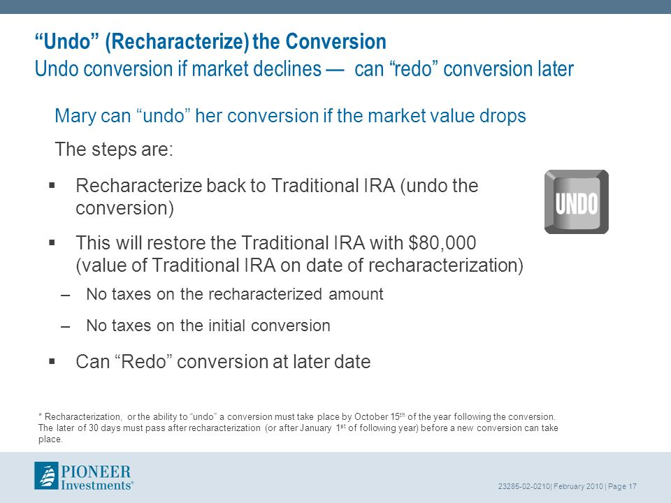 23285-02-0210| February 2010 | Page 17 Undo (Recharacterize) the Conversion Undo conversion if market declines can redo conversion later Mary can undo her conversion if the market value drops The steps are: * Recharacterization, or the ability to undo a conversion must take place by October 15 th of the year following the conversion.