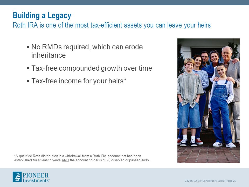 23285-02-0210| February 2010 | Page 22 Building a Legacy Roth IRA is one of the most tax-efficient assets you can leave your heirs No RMDs required, which can erode inheritance Tax-free compounded growth over time Tax-free income for your heirs* *A qualified Roth distribution is a withdrawal from a Roth IRA account that has been established for at least 5 years AND the account holder is 59½, disabled or passed away.