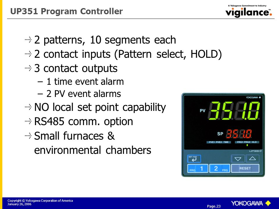 Copyright © Yokogawa Corporation of America January 26, 2006 Tier 3: Yokogawa Field Instrumentation Solutions Page.23 UP351 Program Controller 2 patterns, 10 segments each 2 contact inputs (Pattern select, HOLD) 3 contact outputs –1 time event alarm –2 PV event alarms NO local set point capability RS485 comm.