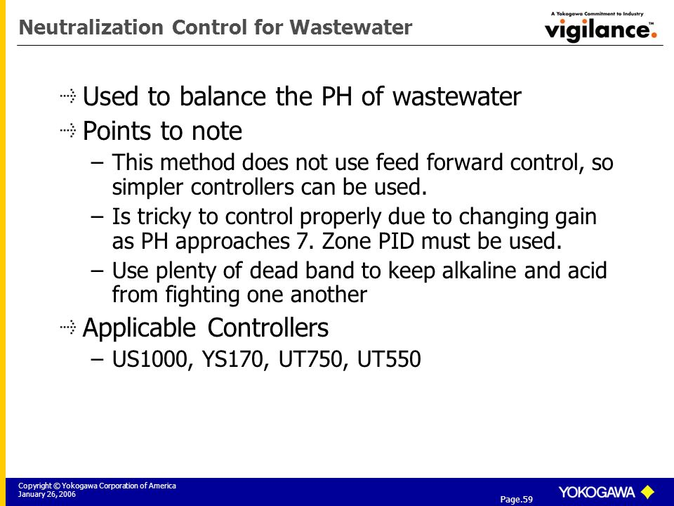 Copyright © Yokogawa Corporation of America January 26, 2006 Tier 3: Yokogawa Field Instrumentation Solutions Page.59 Neutralization Control for Wastewater Used to balance the PH of wastewater Points to note –This method does not use feed forward control, so simpler controllers can be used.