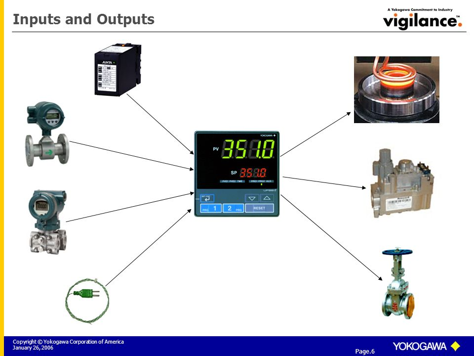 Copyright © Yokogawa Corporation of America January 26, 2006 Tier 3: Yokogawa Field Instrumentation Solutions Page.6 Inputs and Outputs