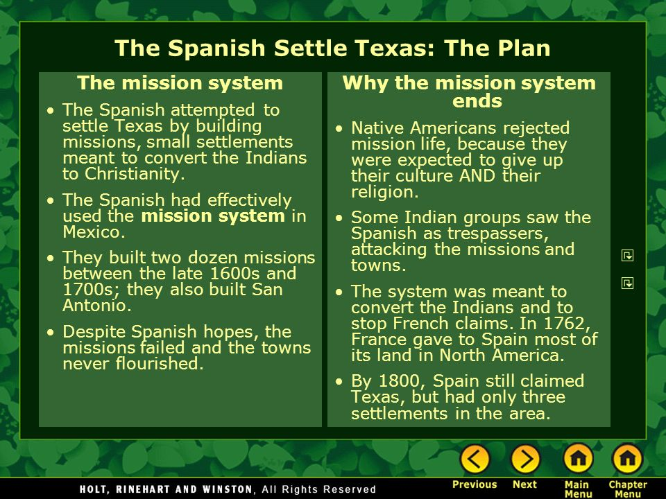 The Spanish Settle Texas: The Plan The mission system The Spanish attempted to settle Texas by building missions, small settlements meant to convert t