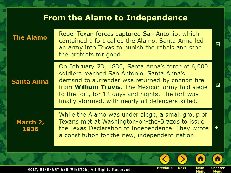 From the Alamo to Independence On February 23, 1836, Santa Annas force of 6,000 soldiers reached San Antonio. Santa Annas demand to surrender was retu