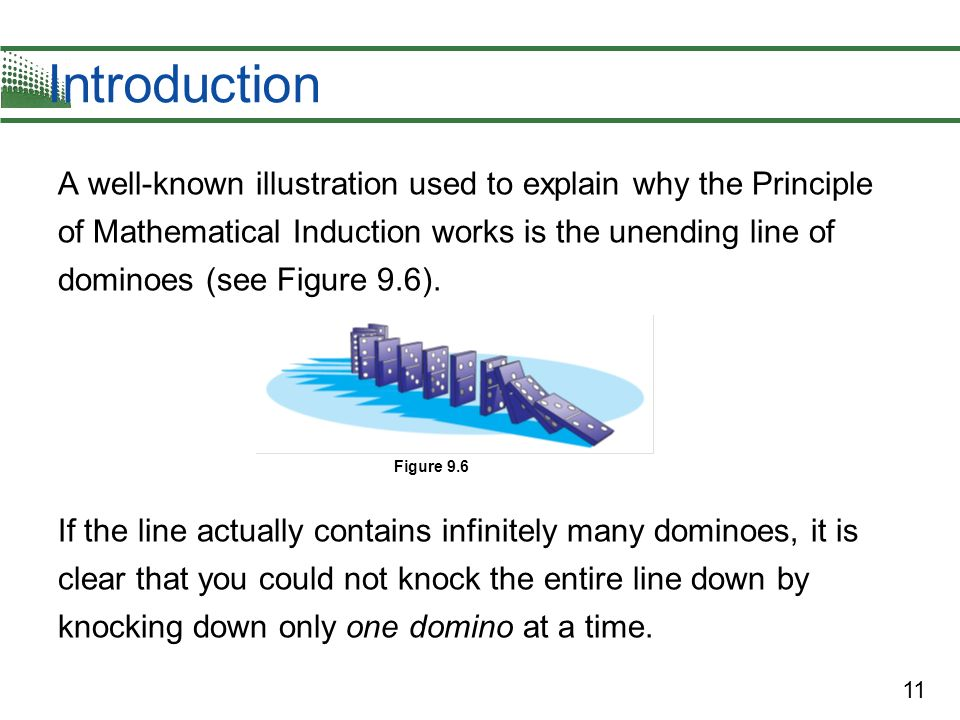 11 Introduction A well-known illustration used to explain why the Principle of Mathematical Induction works is the unending line of dominoes (see Figu