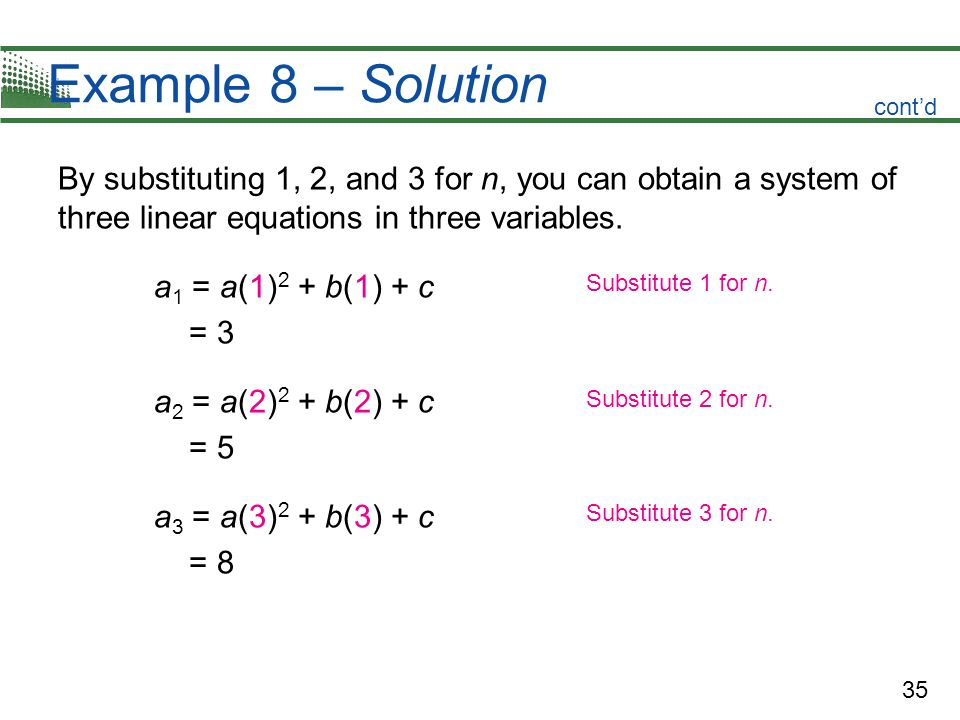 35 Example 8 – Solution By substituting 1, 2, and 3 for n, you can obtain a system of three linear equations in three variables. a 1 = a(1) 2 + b(1) +