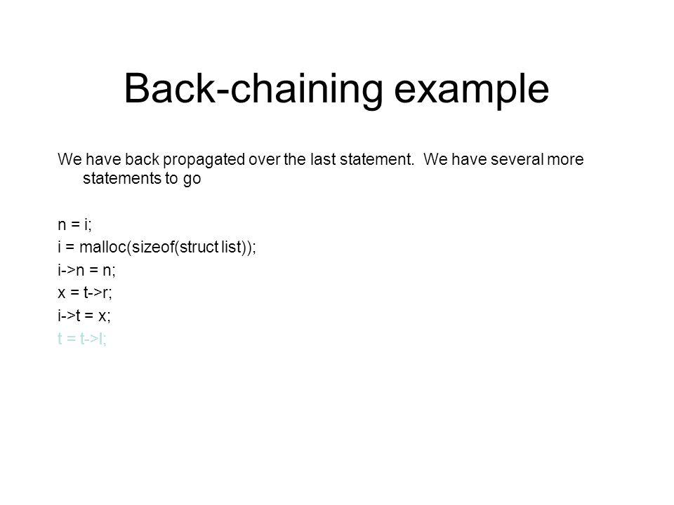 Back-chaining example t l q r (l |r)* t ( v. z.p n *v v l z r (l |r)* z) ( v.