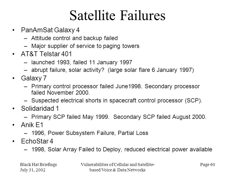 Black Hat Briefings July 31, 2002 Vulnerabilities of Cellular and Satellite- based Voice & Data Networks Page 60 Satellite Failures PanAmSat Galaxy 4