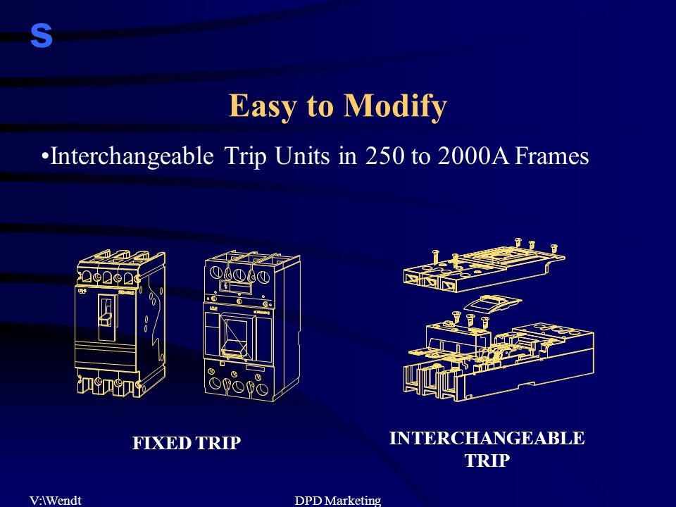 s V:\WendtDPD Marketing Easy to Modify Interchangeable Trip Units in 250 to 2000A Frames FIXED TRIP INTERCHANGEABLE TRIP