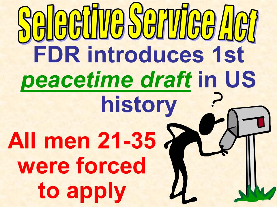 FDR introduces 1st peacetime draft in US history All men 21-35 were forced to apply