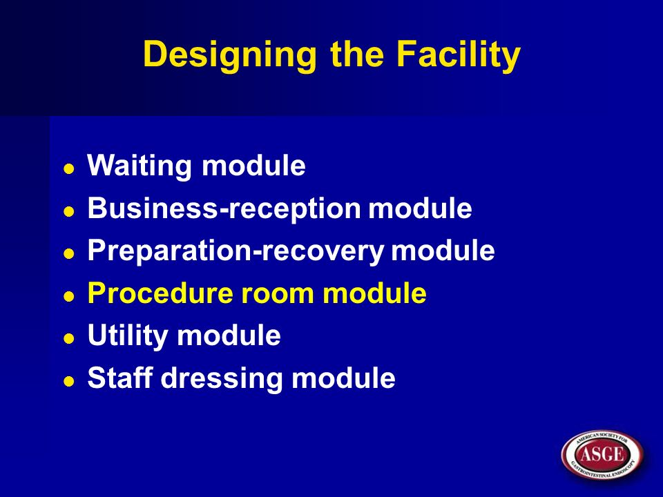 Designing the Facility Waiting module Business-reception module Preparation-recovery module Procedure room module Utility module Staff dressing module