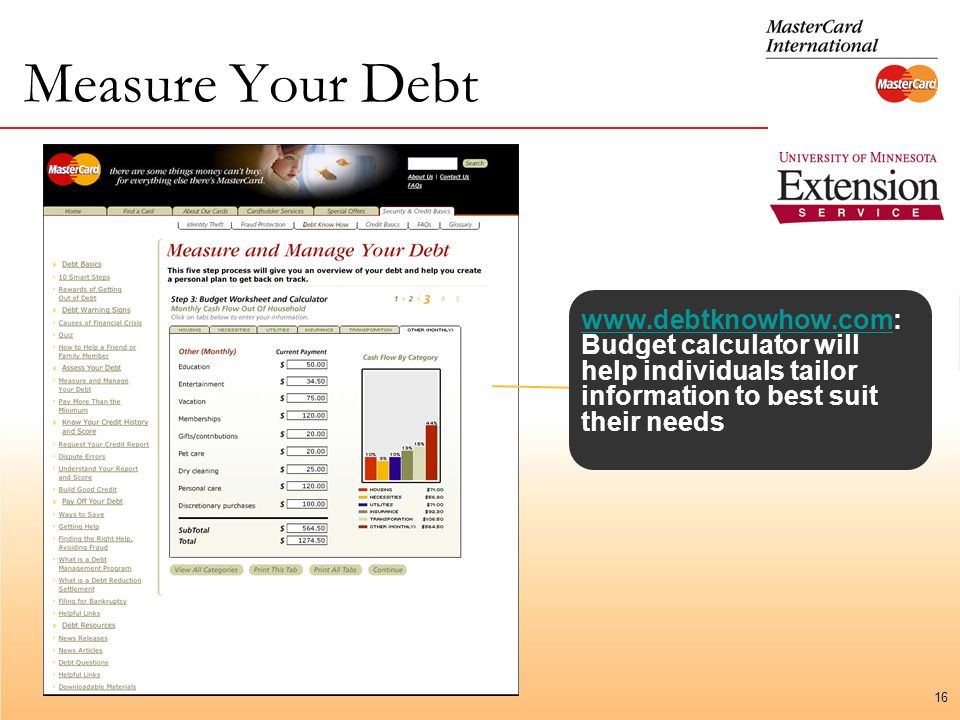 16 Measure Your Debt   Budget calculator will help individuals tailor information to best suit their needs