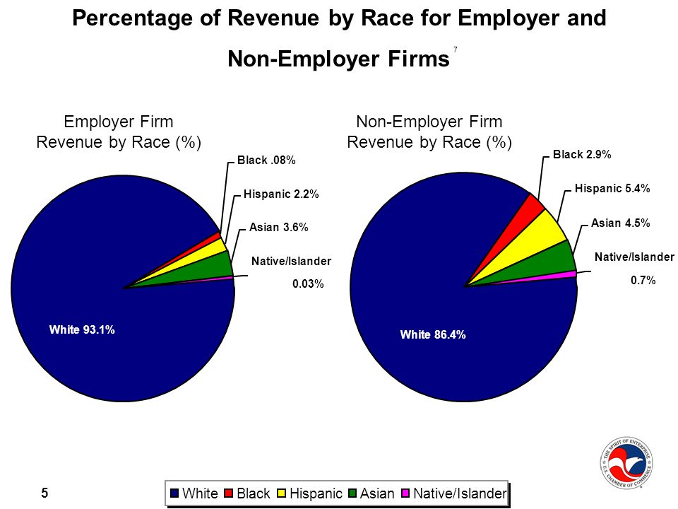 5 WhiteBlackHispanicAsianNative/Islander Percentage of Revenue by Race for Employer and Non-Employer Firms Asian 3.6% Black.08% Hispanic 2.2% White 93.1% Native/Islander 0.03% Asian 4.5% Black 2.9% Hispanic 5.4% White 86.4% Native/Islander 0.7% Employer Firm Revenue by Race (%) Non-Employer Firm Revenue by Race (%) 7